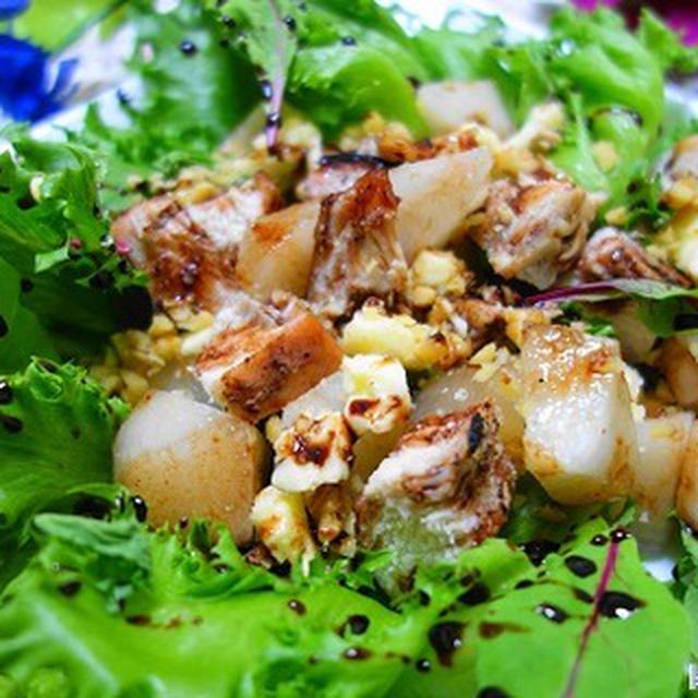 シャリシャリ梨と鶏むね肉のバルサミコ酢サラダ♪
