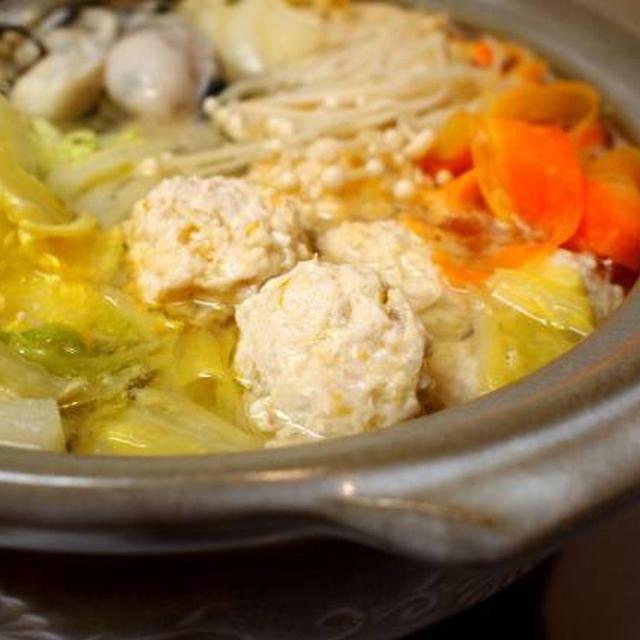 柚子風味☆牡蠣と肉団子の白菜鍋。