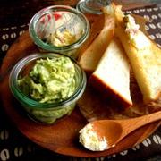 アボカドサラダディップと、シュガーアーモンドバターと食パン*WECKの器