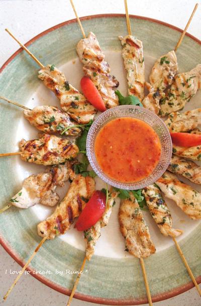 桃スイートチリ&鶏ムネ肉のシシカバブ&玄米ナシゴレン