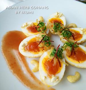 揚げ卵のフライドオニオン&梅ソースがけ★ タイ料理・・お婿さんの卵