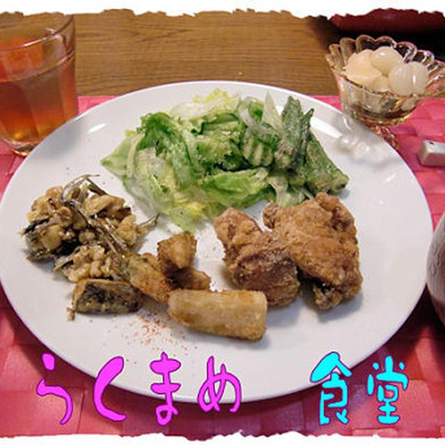 「鶏の唐揚げ」定食♪かぼちゃプリンつき♪
