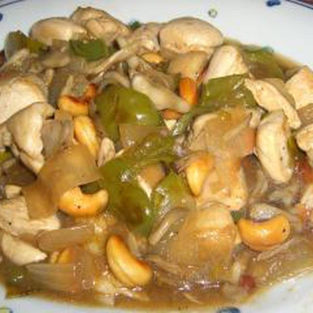 鶏胸肉と舞茸のカシューナッツ炒め