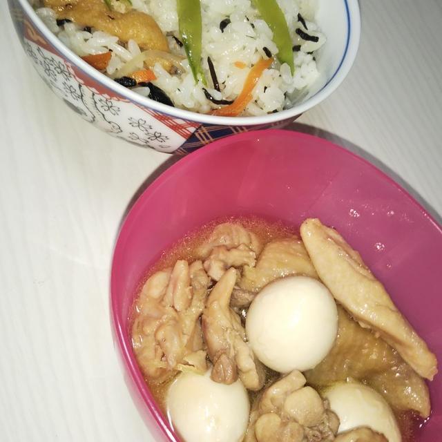 鶏のさっぱり煮とひじきごはん