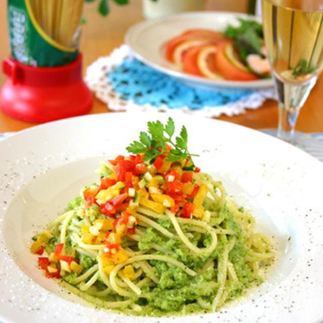 彩り野菜とズッキーニのペーストパスタ☆パスタキャップ!!