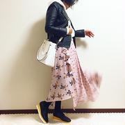 GU590円花柄スカート着回し☆