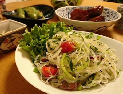 きゅうりと玉ねぎのすっきり春雨パクチーサラダ