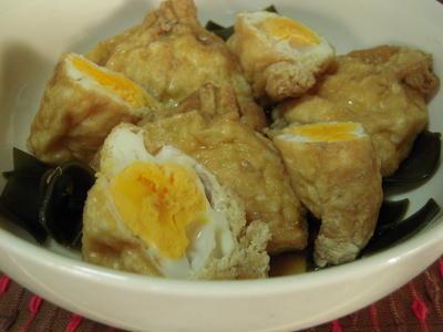巾着卵+厚揚げとナスの煮物