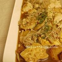 白野菜とチャイブで「五香粉で豆腐と長芋のステーキ煮びたし風」