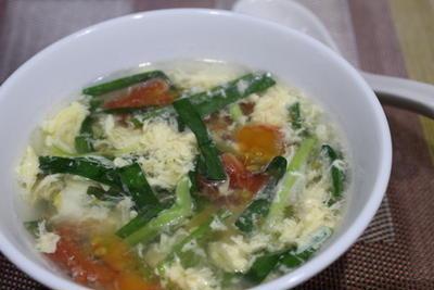 365日レシピNo.269「トマトの入ったにら玉スープ」