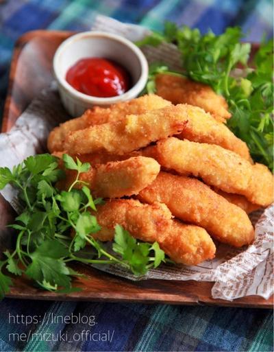 ♡バッター液de超簡単♡鶏むね肉のチーズフライ♡【#揚げない#簡単レシピ#節約#お弁当】