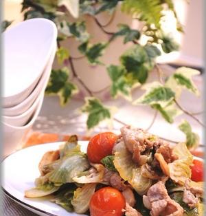 豚バラとレタスの和風オリーブオイル炒め