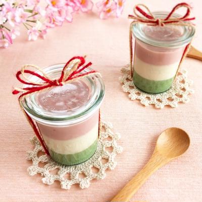 苺と抹茶の春色ミルクプリン(ヴィーガン)