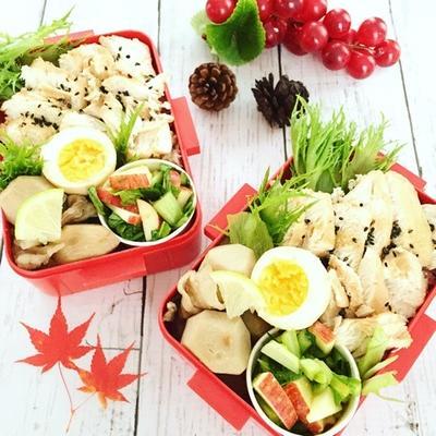 小松菜とリンゴのサラダお弁当♡