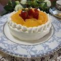 白柳ネーブルのデコレーションケーキ