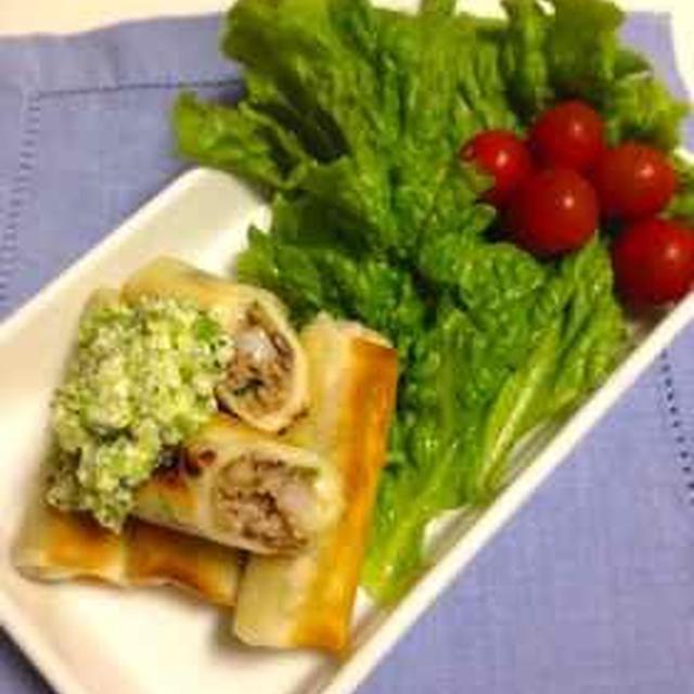 野菜たっぷり春巻きのブロッコリーソース添え