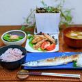 今年初の秋刀魚と手羽中の塩唐揚げ
