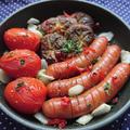 トースターで簡単、オリーブオイル少なめ、ウインナーとトマトと椎茸のアヒージョ風