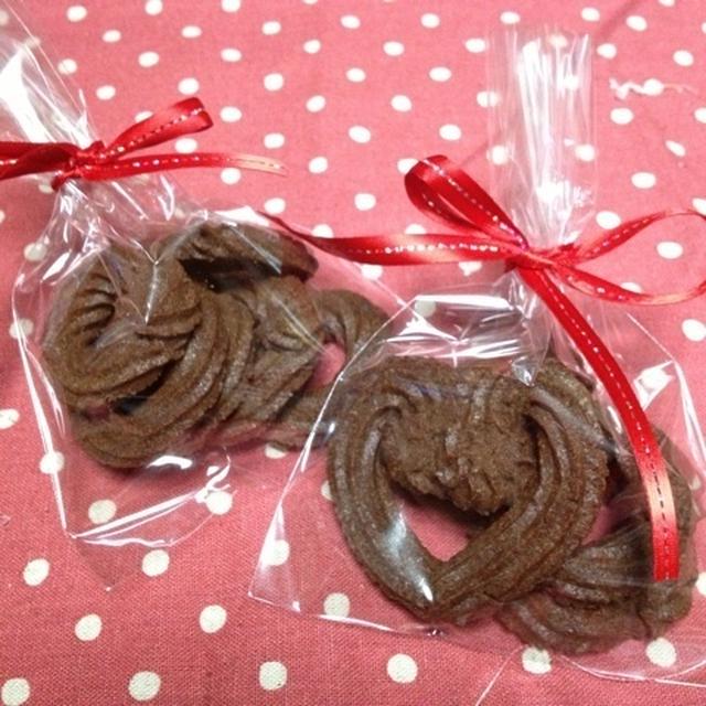 バレンタインに簡単絞り出しチョコクッキー