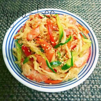 味付け簡単さっぱりウマっ♡海老と切り干しのハリハリ中華サラダ