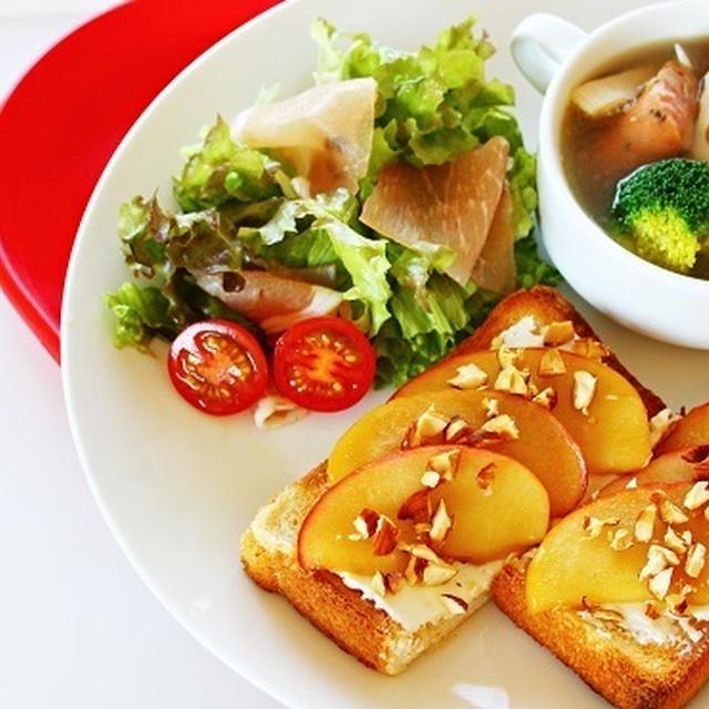 【姫ごはん☆美脚レシピ】アップルシナモントーストの ワンプレート☆