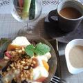 ■腸活朝ご飯【スティック野菜とフルーツサラダヨーグルトには グラノーラをかけて^^】
