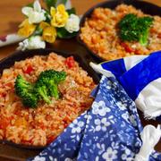 簡単朝ごはん!即席15分☆トマト缶リゾットで「ブーケファスト」*スキレット朝食