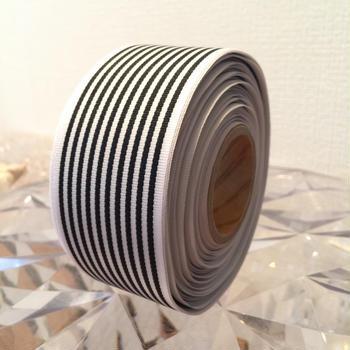 40㎜ リボン ボーダー黒×白