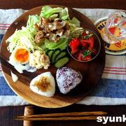 【簡単!!サラダ3種】トマトと大葉のサラダ、焼肉レタスサラダ、ツナポテトサラダのおにぎりプレート
