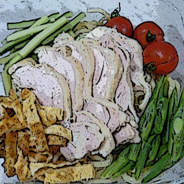 冷やし中華②ゴマだれ ~ 茹で鶏のスープでタレをおいしくする