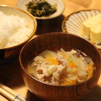 卵焼きと高菜炒めで朝ごはん