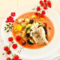 たっぷりお野菜と鱈の♪食べる海老のビスクスープ♡
