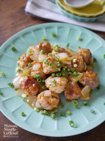節約|簡単|時短レシピ|豚小間切れ肉活用|作り置きおかず|【丸めてポン!豚小間ミートボールのチリソース炒め】