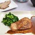 カジキマグロのしょうが焼き。焦げました(涙)の蒸し焼き豚。の晩ご飯。