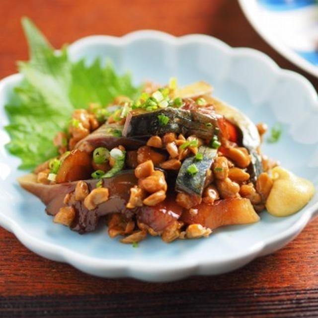 お刺身の納豆和え 、お刺身アレンジ 、 鯖の刺身