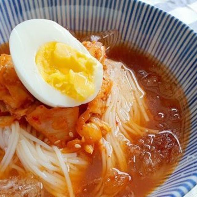 【三食ごはん】冷麺風冷やし素麺の韓国レシピ ♪夏は、キムチマリグクス