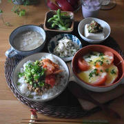 【レシピ】じゃがいもとトマトの半玉チーズ✳︎レンチン&トースター✳︎ボリュームおかず✳︎子供好き…練習前の朝ごはん。
