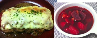 タケノコとソーセージのカレー炒め、タケノコとと枝豆の卵炒め、ミートローフのトマトチーズ焼き、ビーツのスープ
