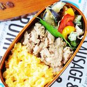 「炒り卵と豚こまの生姜煮のっけ弁当」と「パプリカのホイル焼き(黒酢浸し)」のレシピ。