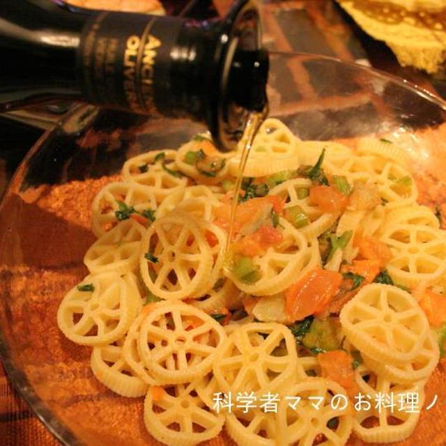 ワインに合う☆トマトとニンニク、セロリのショートパスタ