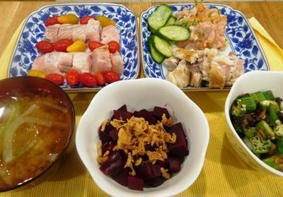 オクラとねぎ、椎茸の梅肉和え~ビーツとフライドオニオン
