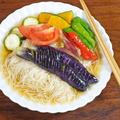 彩り夏野菜の揚げ浸し 冷やしそうめん