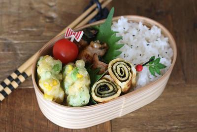 簡単おかずとコーンと枝豆のかき揚げ弁当の作り方!詰め方も合わせて紹介
