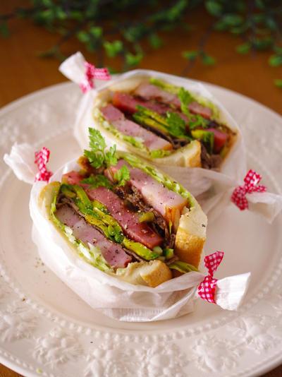 肉、肉、肉のがっつりサンド☆具だくさんサンド
