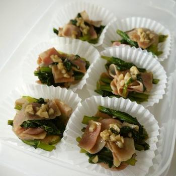 【レシピ動画】冷凍保存☆小松菜ベーコンの大蒜醤油炒め♪