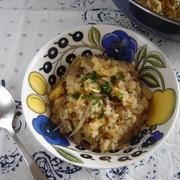 フライパンひとつで調理!鶏ごぼうピラフ。