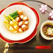 豚バラの長芋巻きと焼き蕪と水菜の鉢物