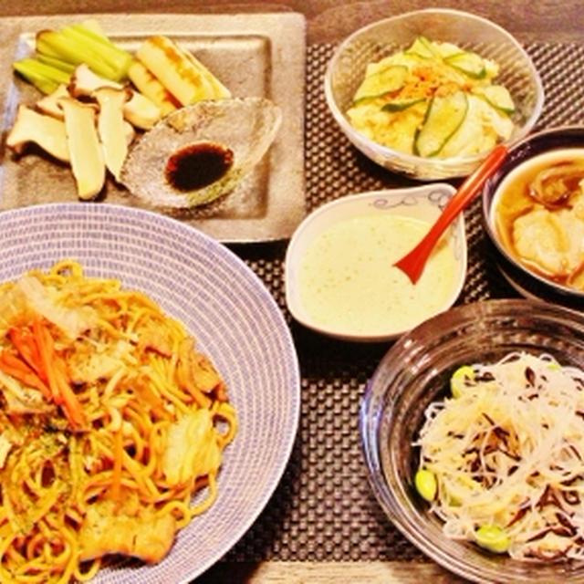 焼きそばメイン、品数野菜多め簡単晩ご飯