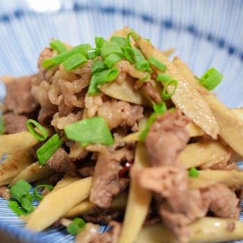 豚肉とごぼうの生姜炒め/普通二輪教習・申し込み