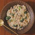 鮭とマッシュルームの豆乳チーズリゾット